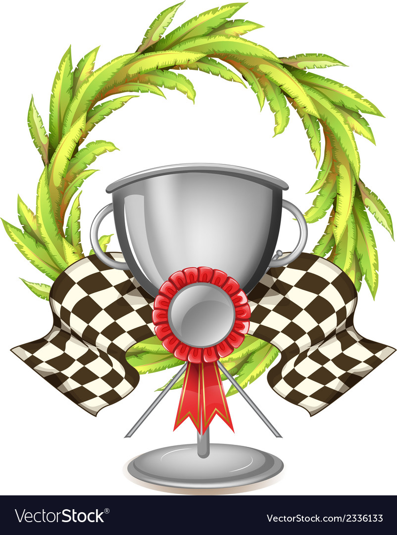 A big grey trophy with a ribbon vector | Price: 1 Credit (USD $1)