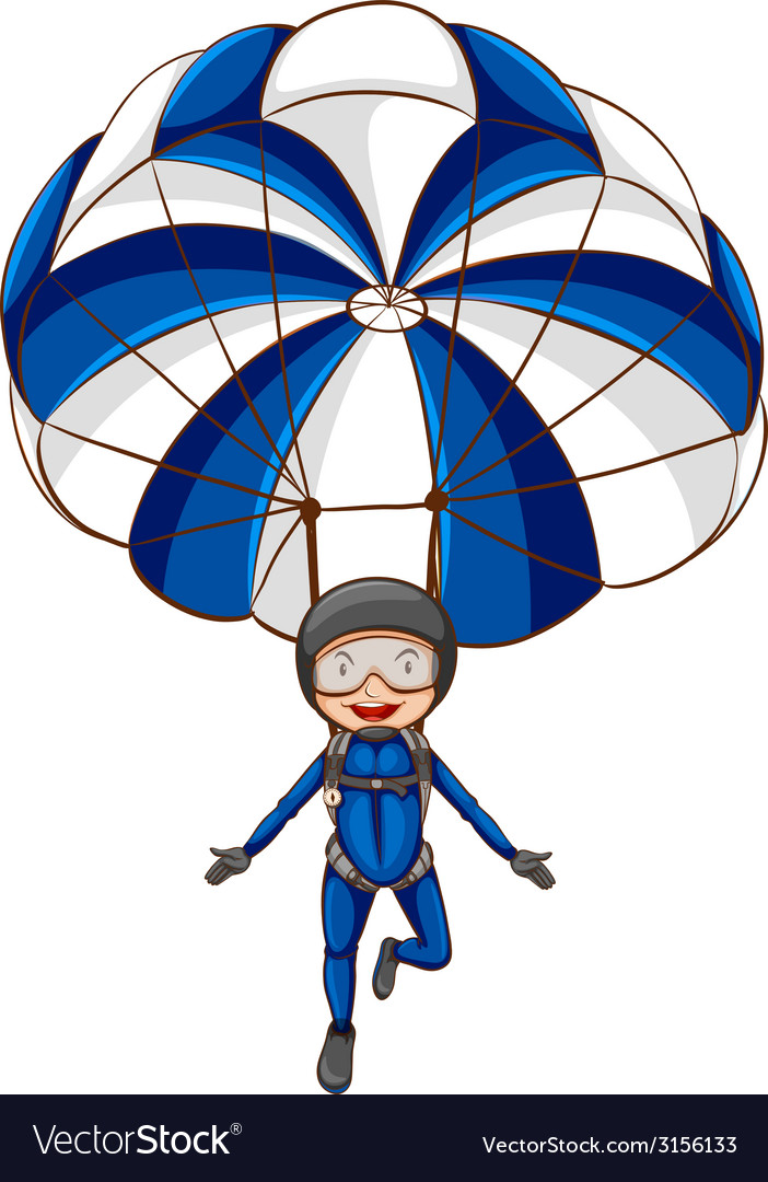 A sketch of a parachute with a boy vector | Price: 1 Credit (USD $1)