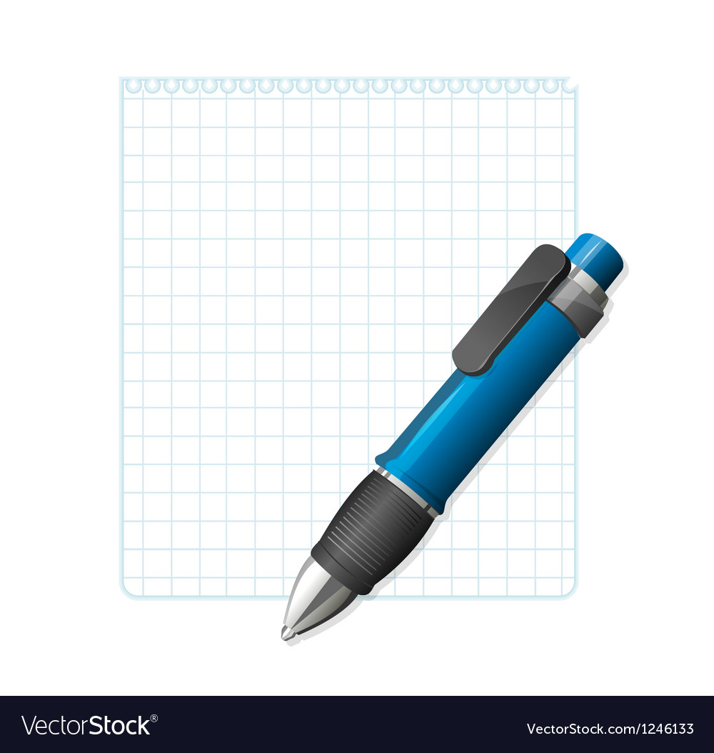 Blank note paper with pen vector | Price: 1 Credit (USD $1)