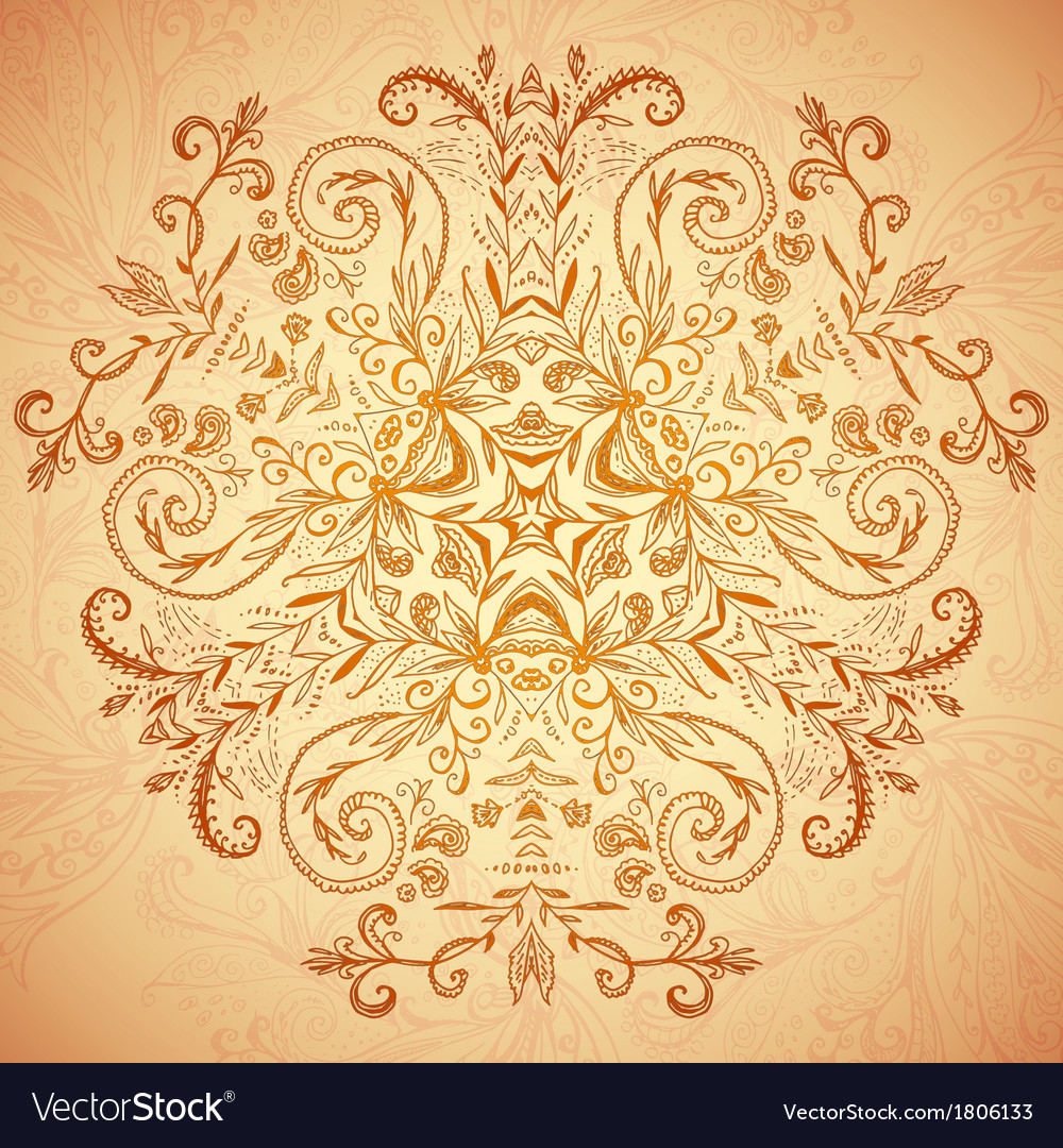 Chocolate floral ornament mandala background card vector | Price: 1 Credit (USD $1)