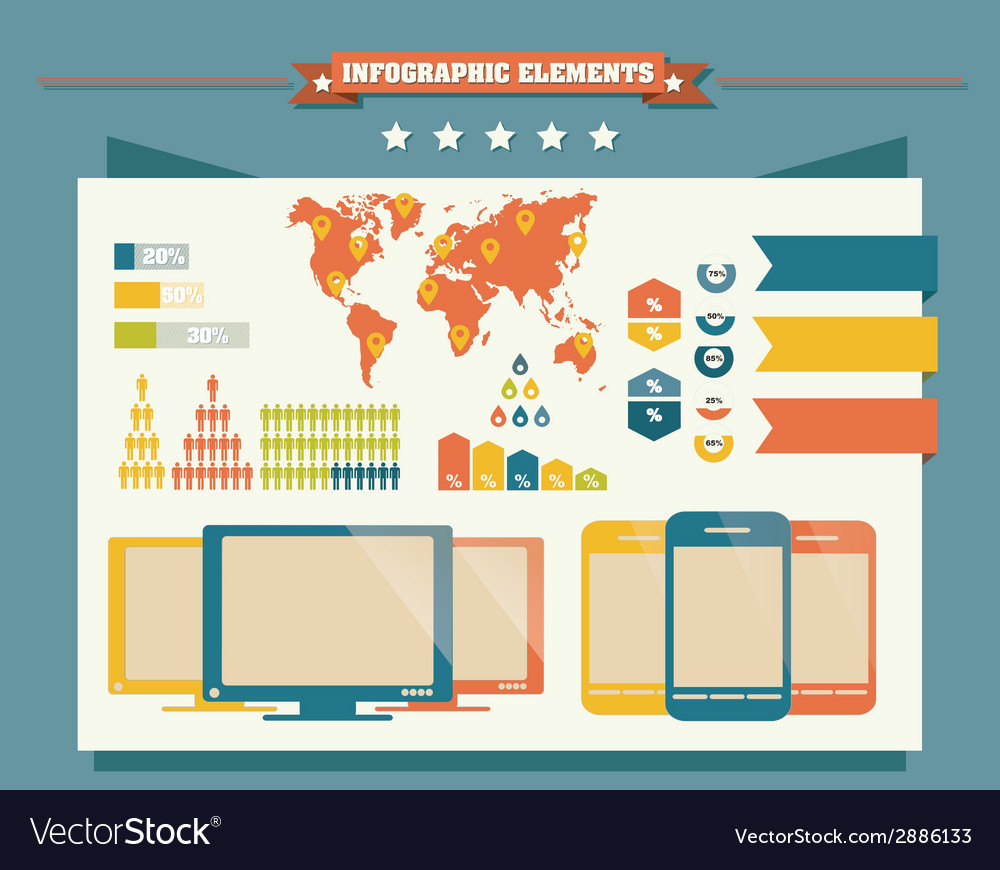 Collection of infographics elements vector | Price: 1 Credit (USD $1)