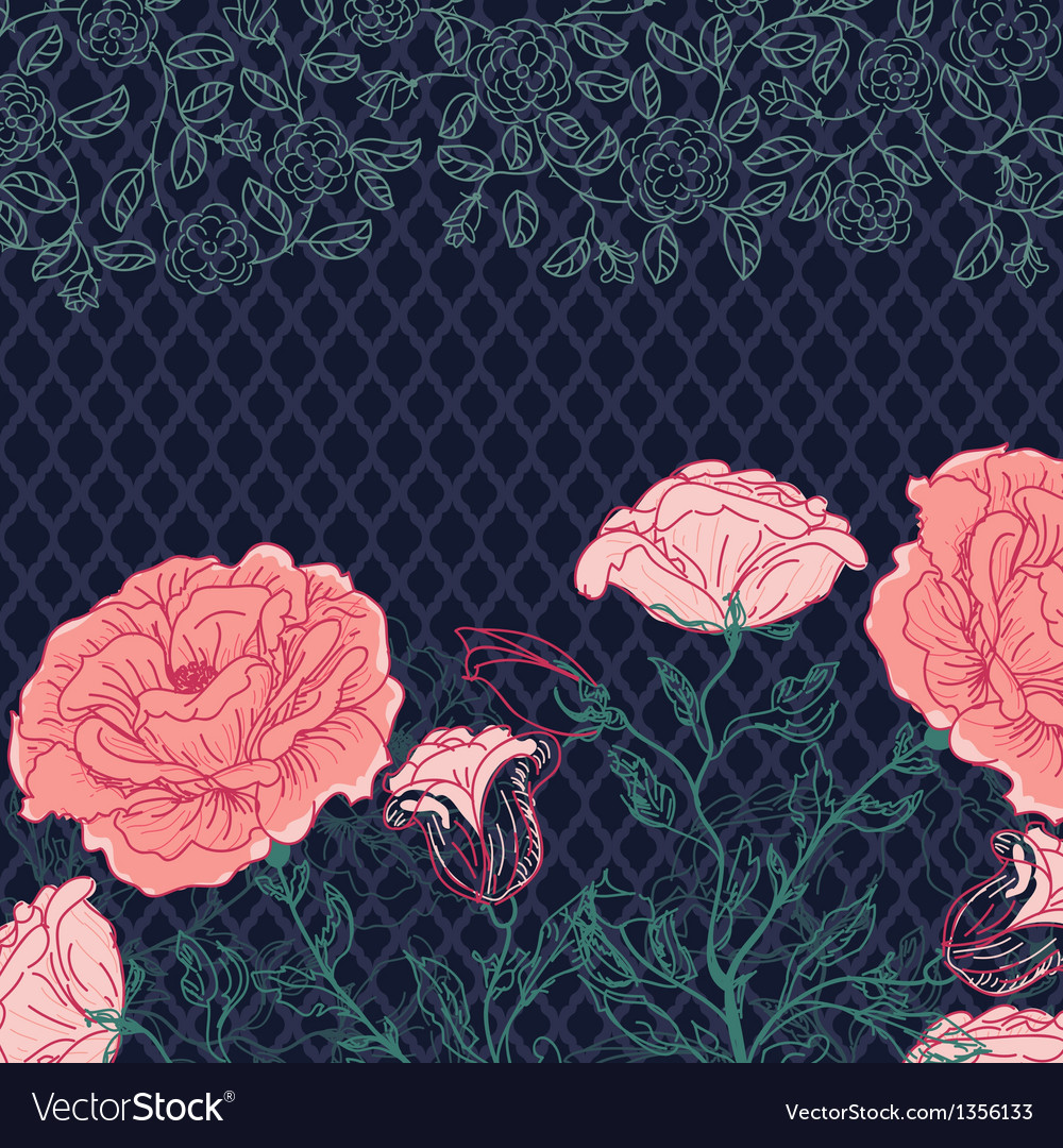 Doodle rose border vector | Price: 1 Credit (USD $1)
