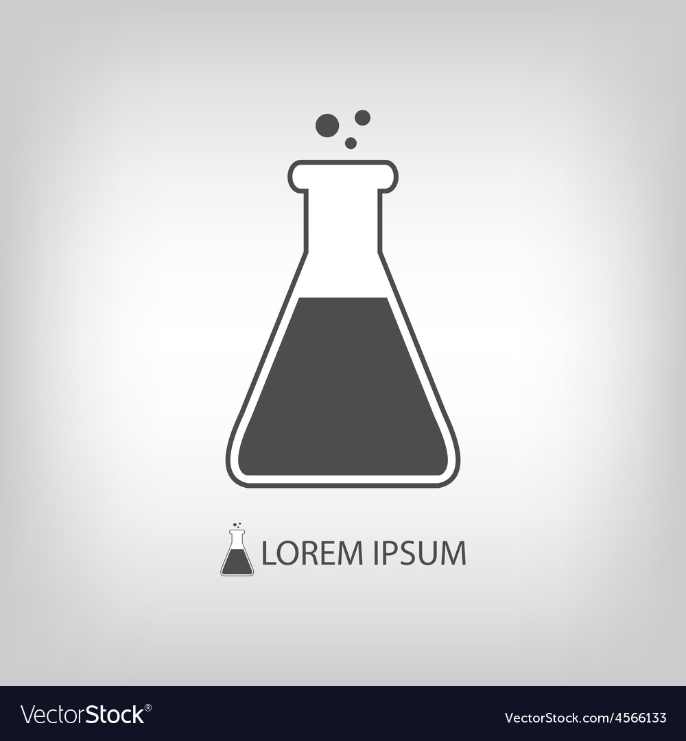 Grey flask as chemistry logo vector | Price: 1 Credit (USD $1)