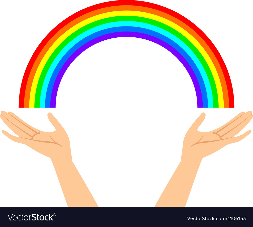 Hands with rainbow vector | Price: 1 Credit (USD $1)