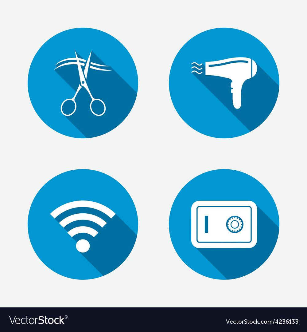Hotel services icon wi-fi hairdryer and safe vector | Price: 1 Credit (USD $1)