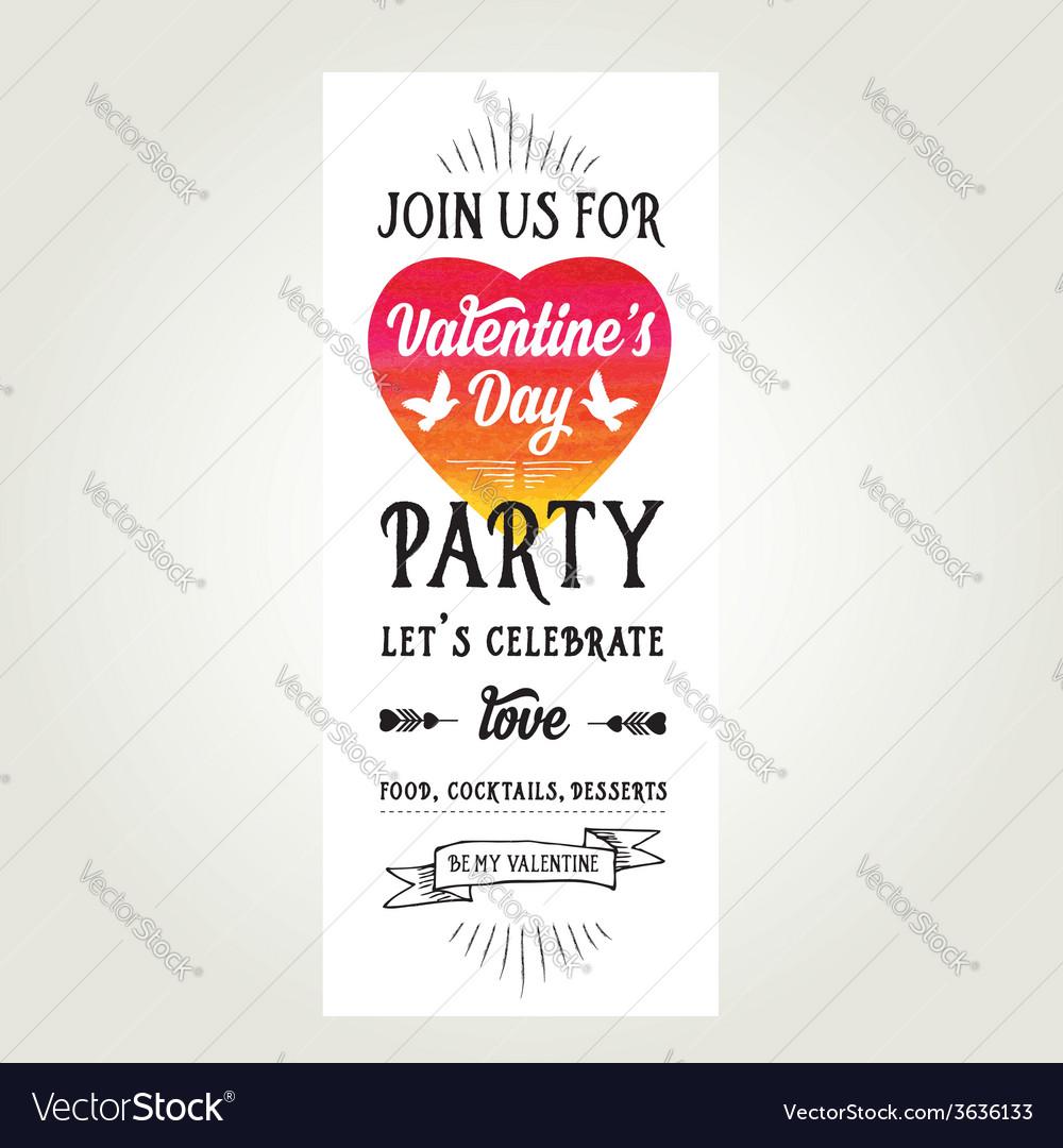 Invitation valentines day typography love poster vector | Price: 1 Credit (USD $1)