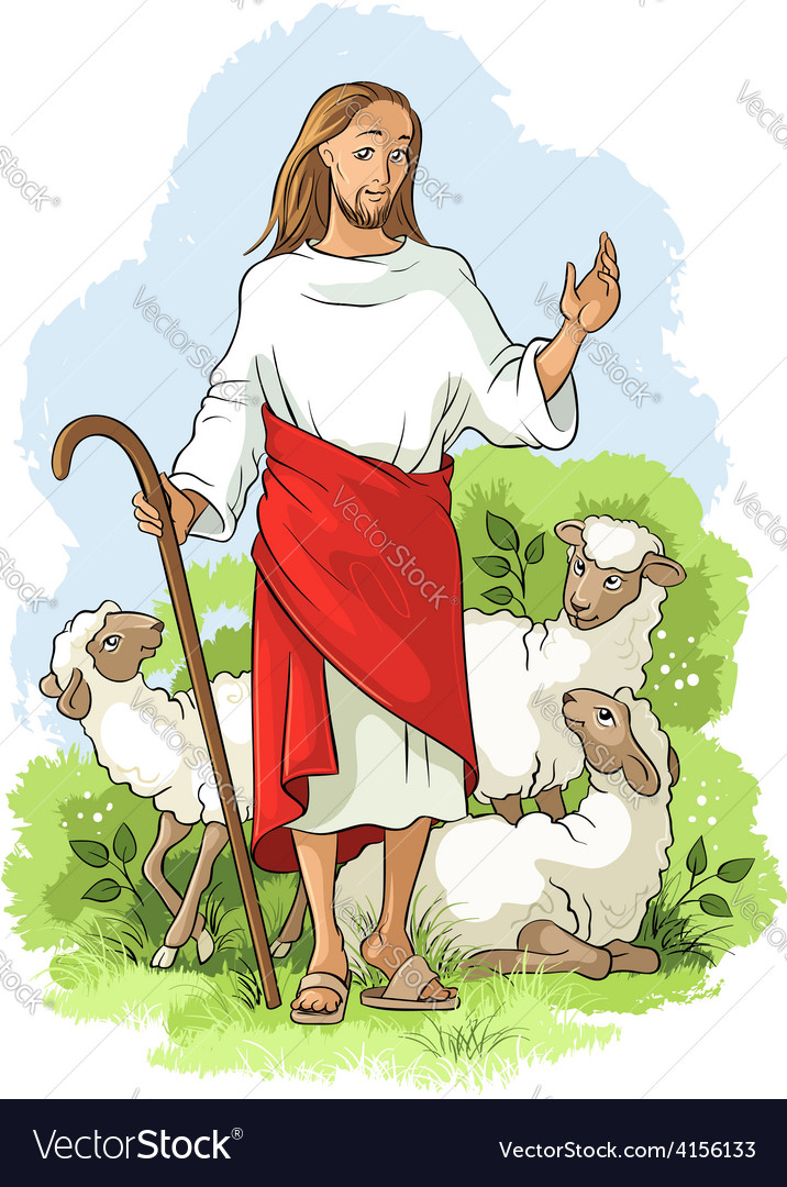 Jesus is a good shepherd christian easter theme vector | Price: 5 Credit (USD $5)