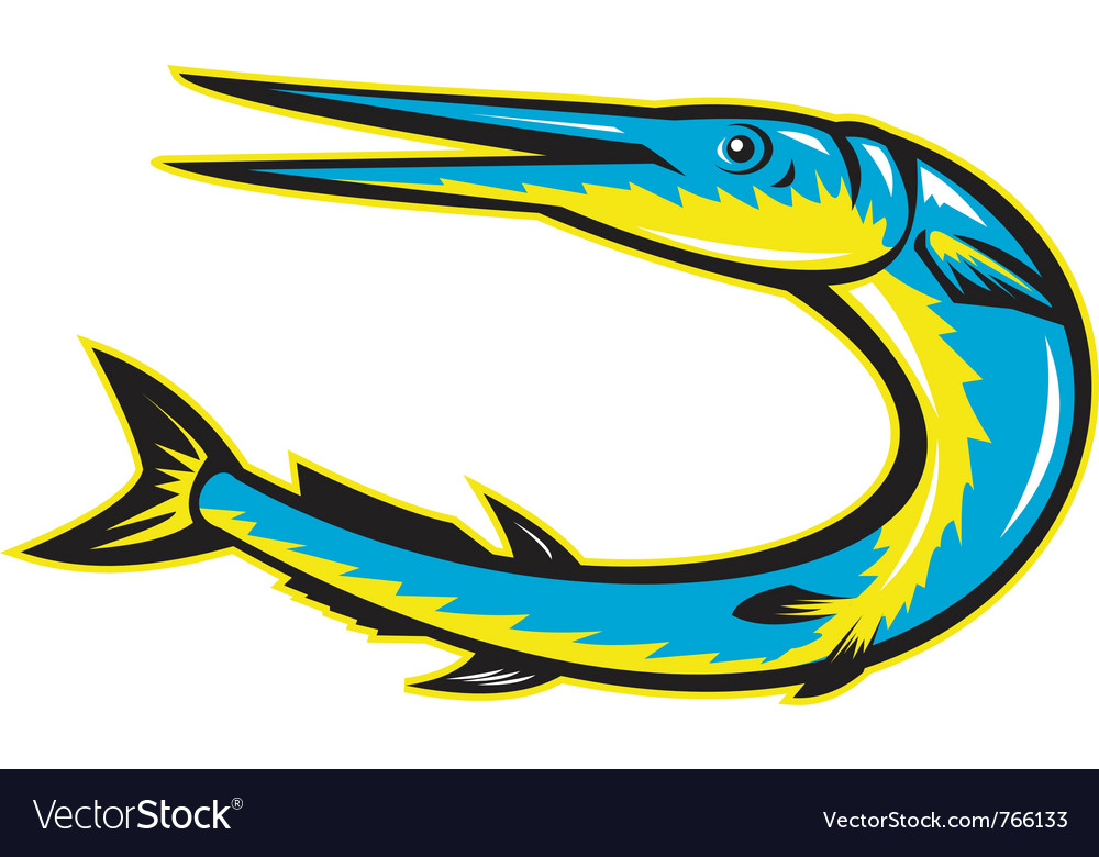 Needle fish jumping vector | Price: 1 Credit (USD $1)