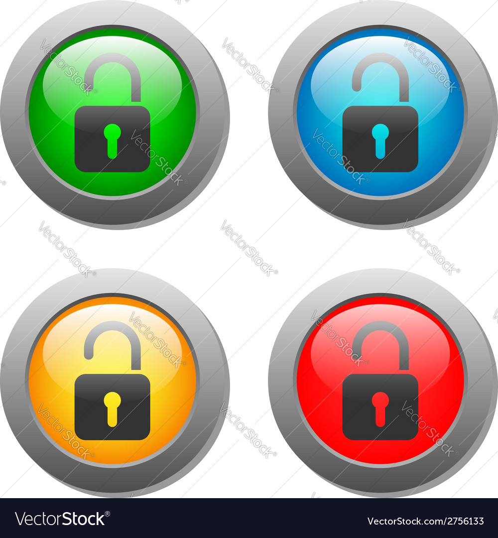Open lock icon on glass buttons vector | Price: 1 Credit (USD $1)