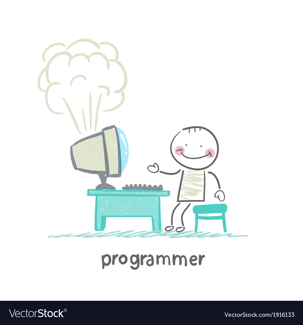 Programmer stands next to a computer that explodes vector | Price: 1 Credit (USD $1)