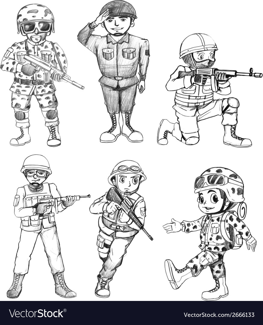 Sketches of soldiers vector | Price: 1 Credit (USD $1)