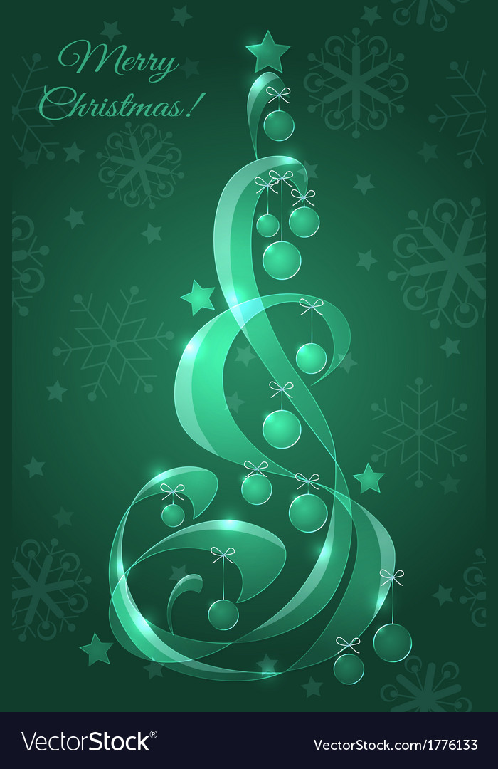 Stylized glass christmas tree with christmas balls vector | Price: 1 Credit (USD $1)