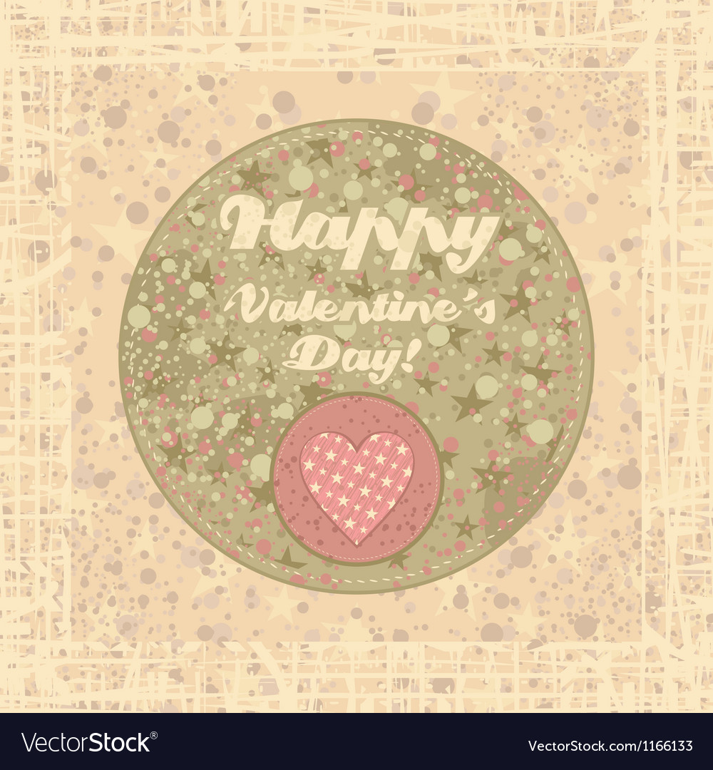 Valentines day badge on abstract background vector | Price: 1 Credit (USD $1)