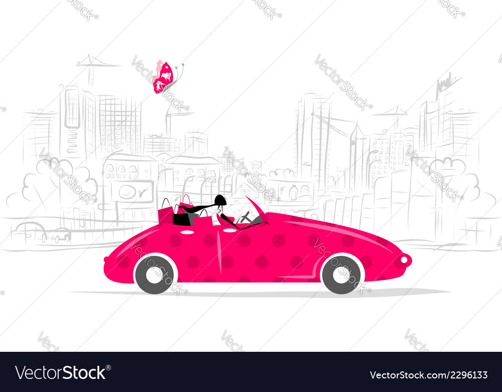 Woman driving car for your design vector | Price: 1 Credit (USD $1)