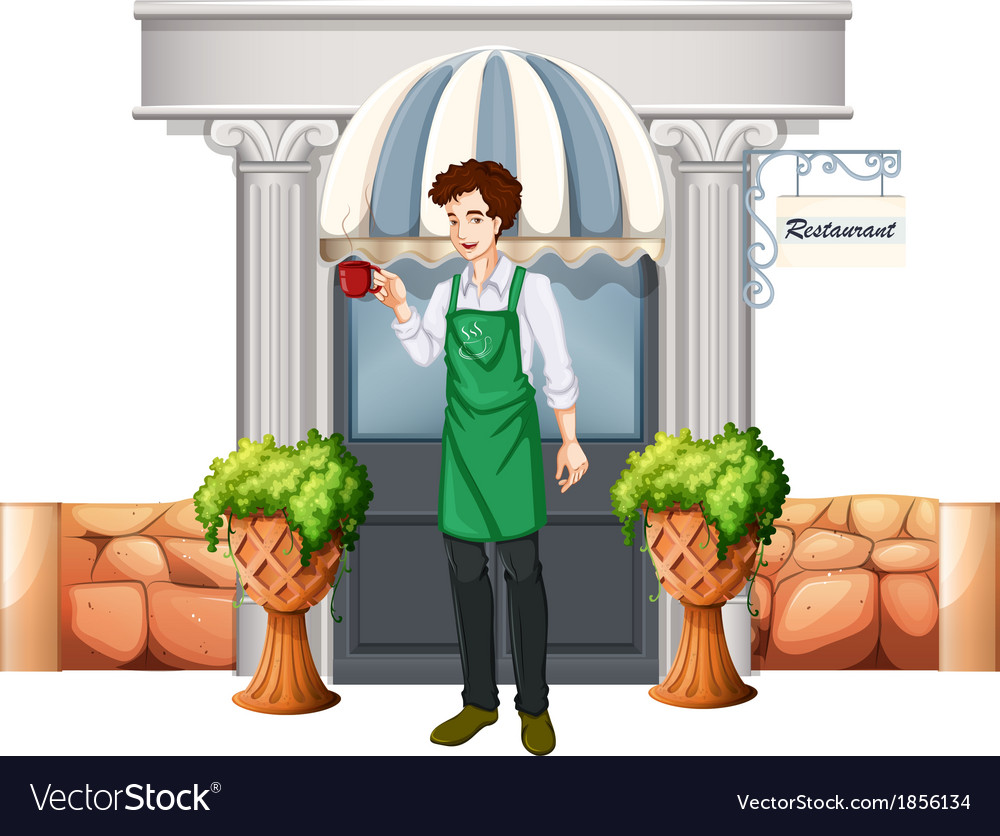 A barista outside the restaurant vector | Price: 1 Credit (USD $1)