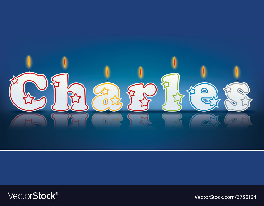 Charles written with burning candles vector | Price: 1 Credit (USD $1)