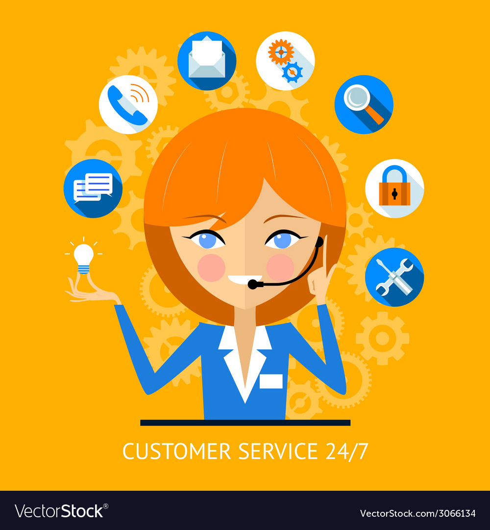Customer service icon of a call center girl vector | Price: 1 Credit (USD $1)