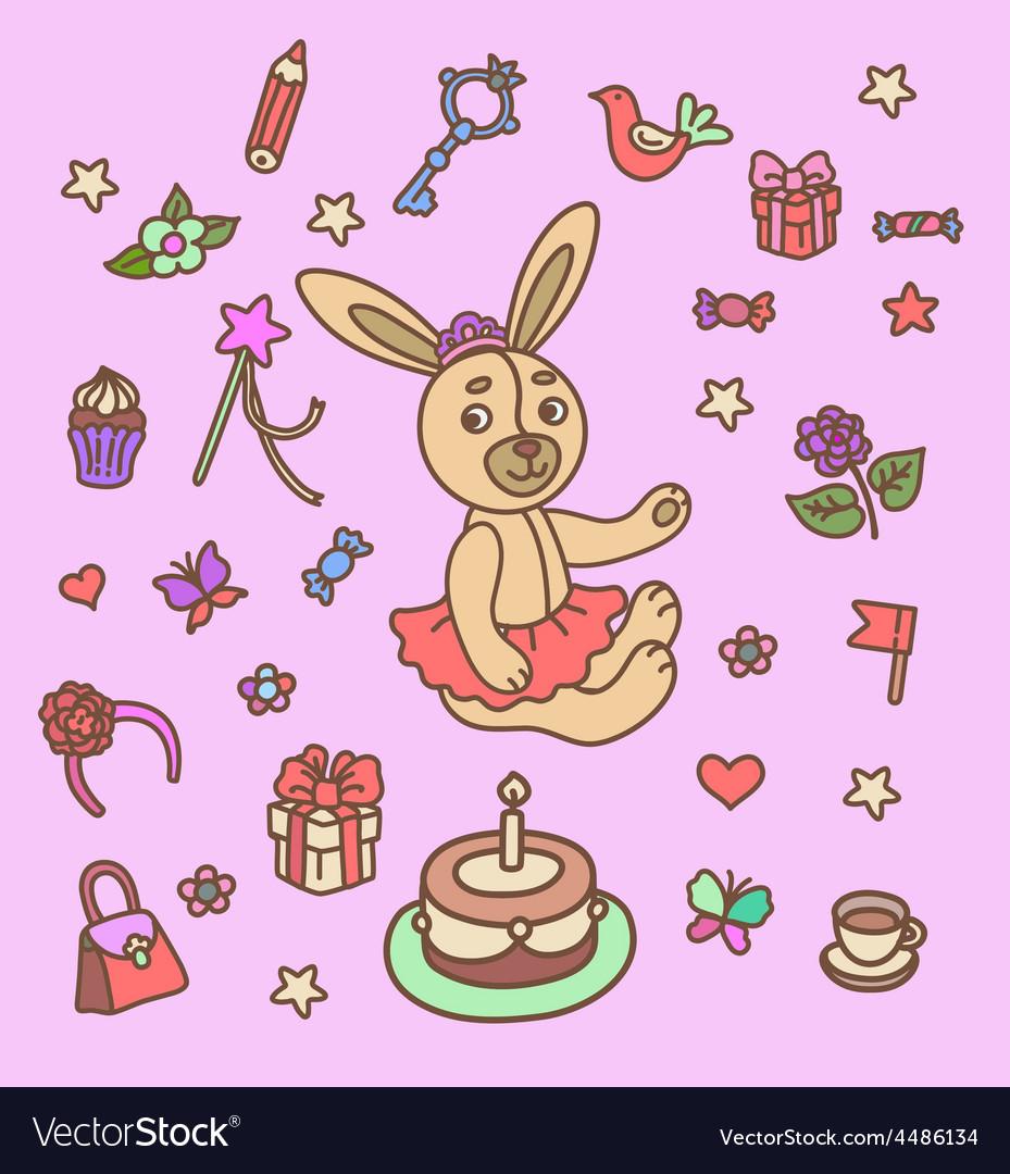 First birthday set vector | Price: 1 Credit (USD $1)