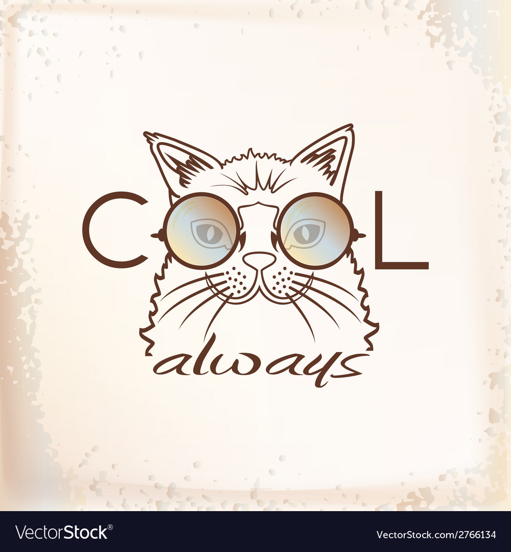Funny muzzle cat in sunglasses closeup vector | Price: 1 Credit (USD $1)