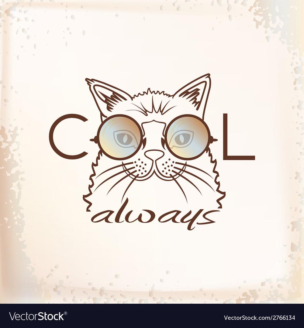 Funny muzzle cat in sunglasses closeup vector | Price: 1 Credit (USD $1)