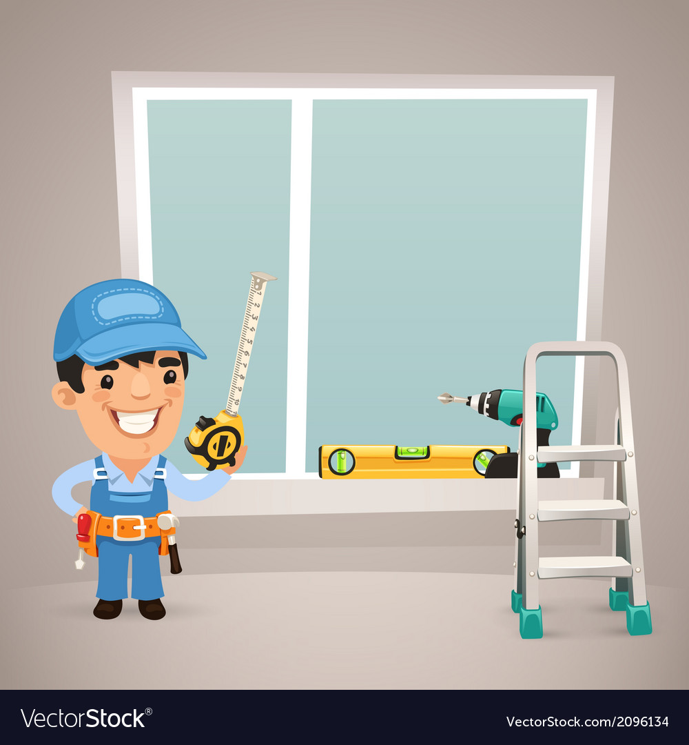 Male worker is installing the window vector | Price: 1 Credit (USD $1)