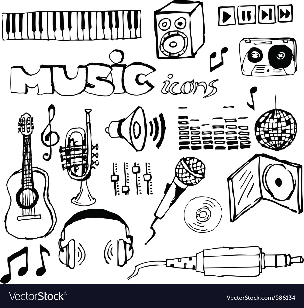 Music doodle icons vector | Price: 1 Credit (USD $1)