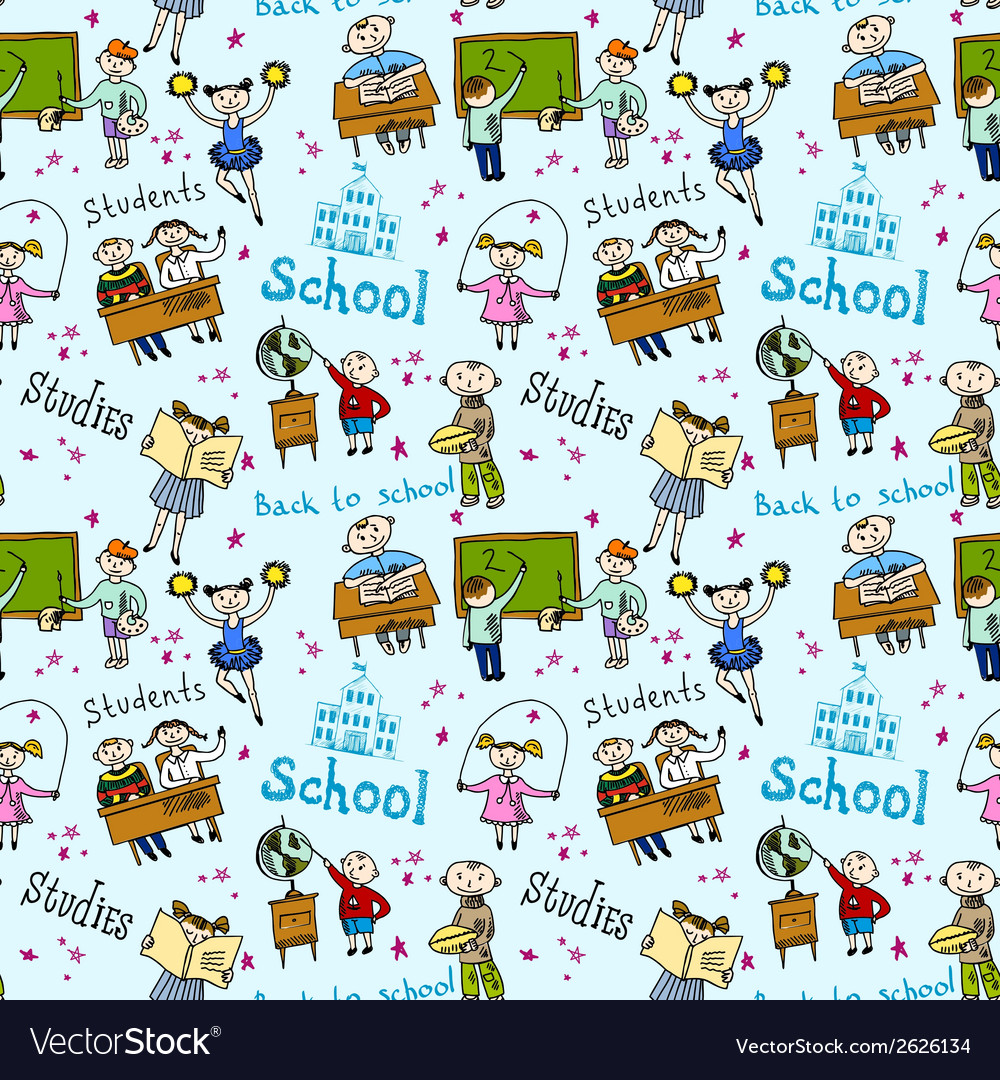 Seamless pattern with kids vector | Price: 1 Credit (USD $1)
