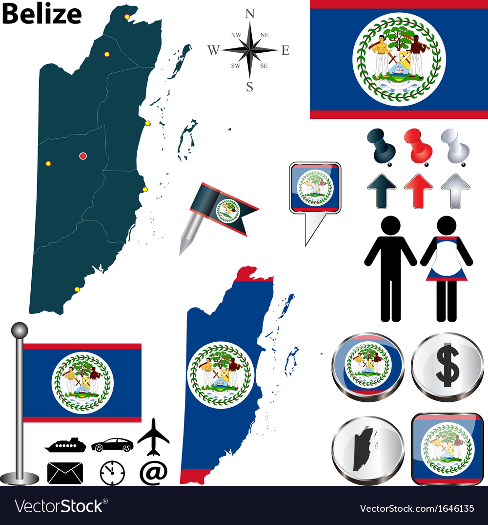 Belize map vector | Price: 1 Credit (USD $1)