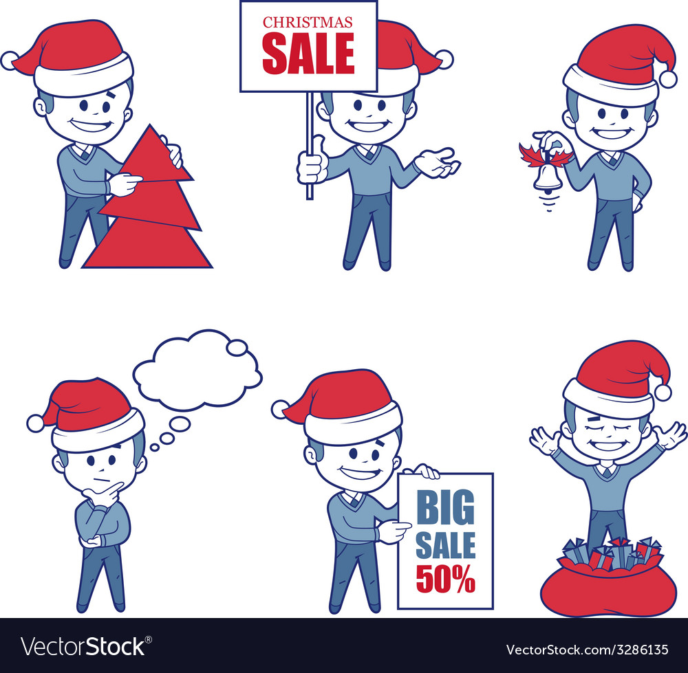 Business characters boys for holiday sale banner vector | Price: 1 Credit (USD $1)