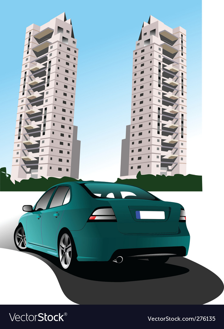 Car and buildings vector | Price: 1 Credit (USD $1)