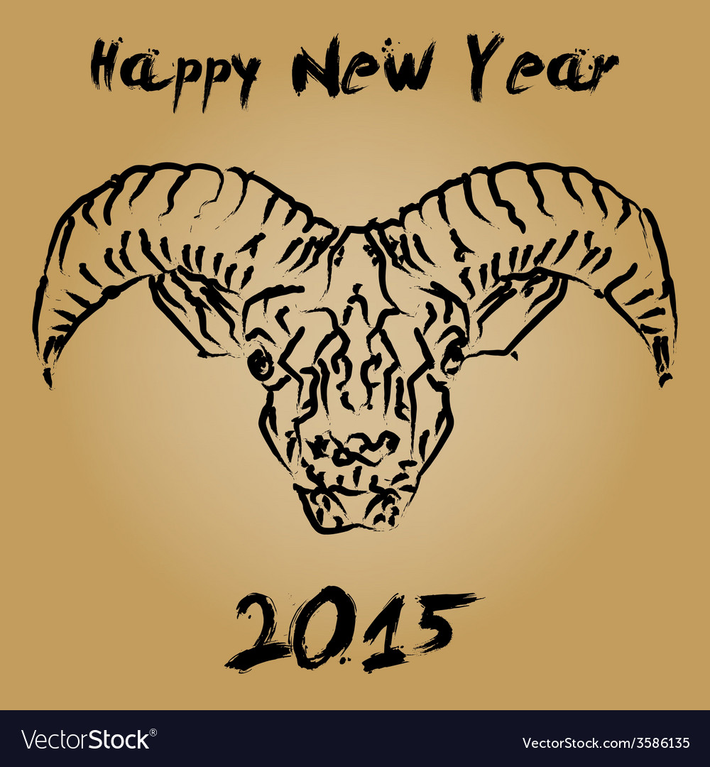 Cninese new year 2015 wooden goat vector | Price: 1 Credit (USD $1)
