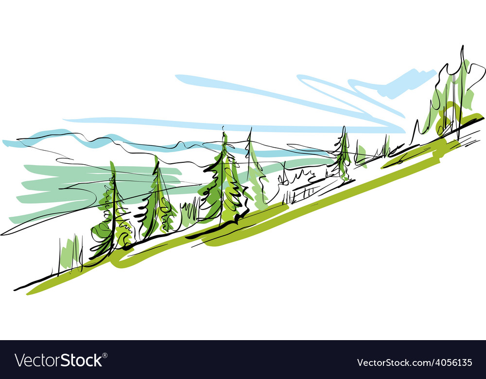 Colorful hand drawn landscape mountains vector | Price: 1 Credit (USD $1)