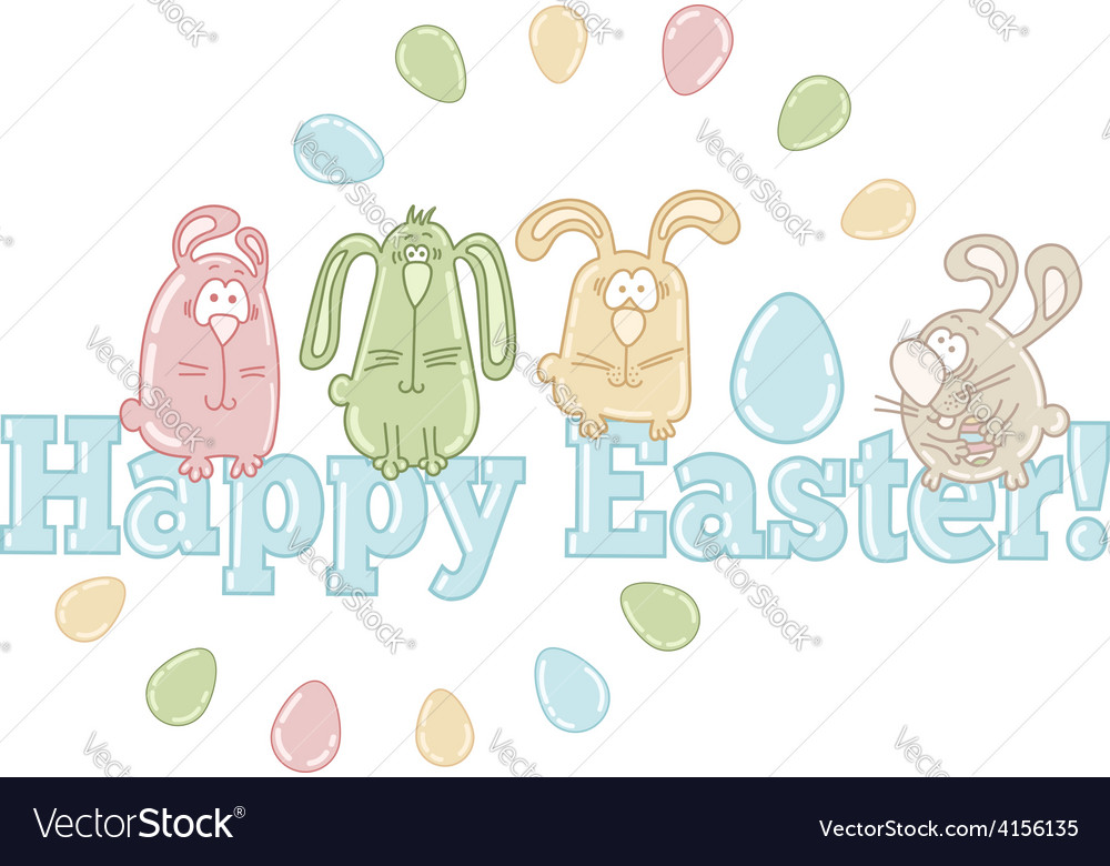 Easter greeting card with easter eggs and bunnies vector | Price: 1 Credit (USD $1)