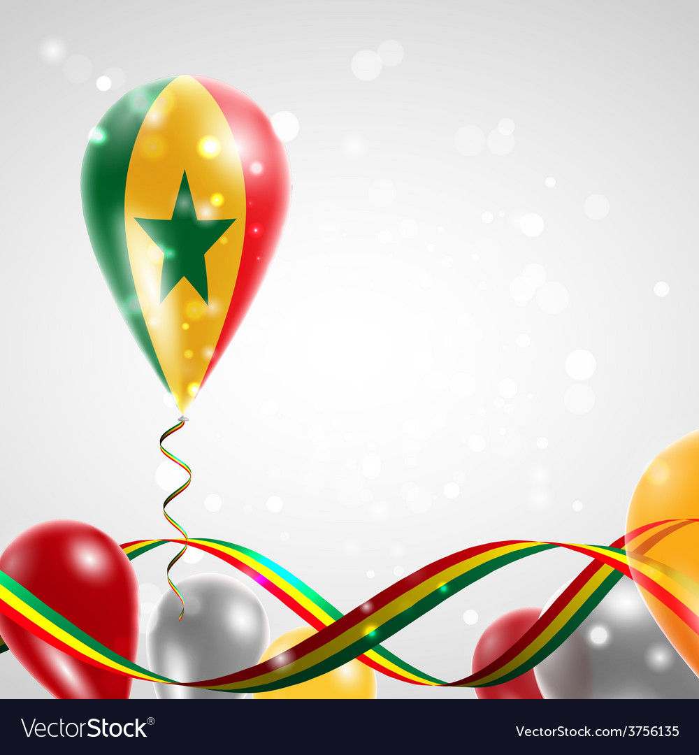 Flag of senegal on balloon vector | Price: 1 Credit (USD $1)