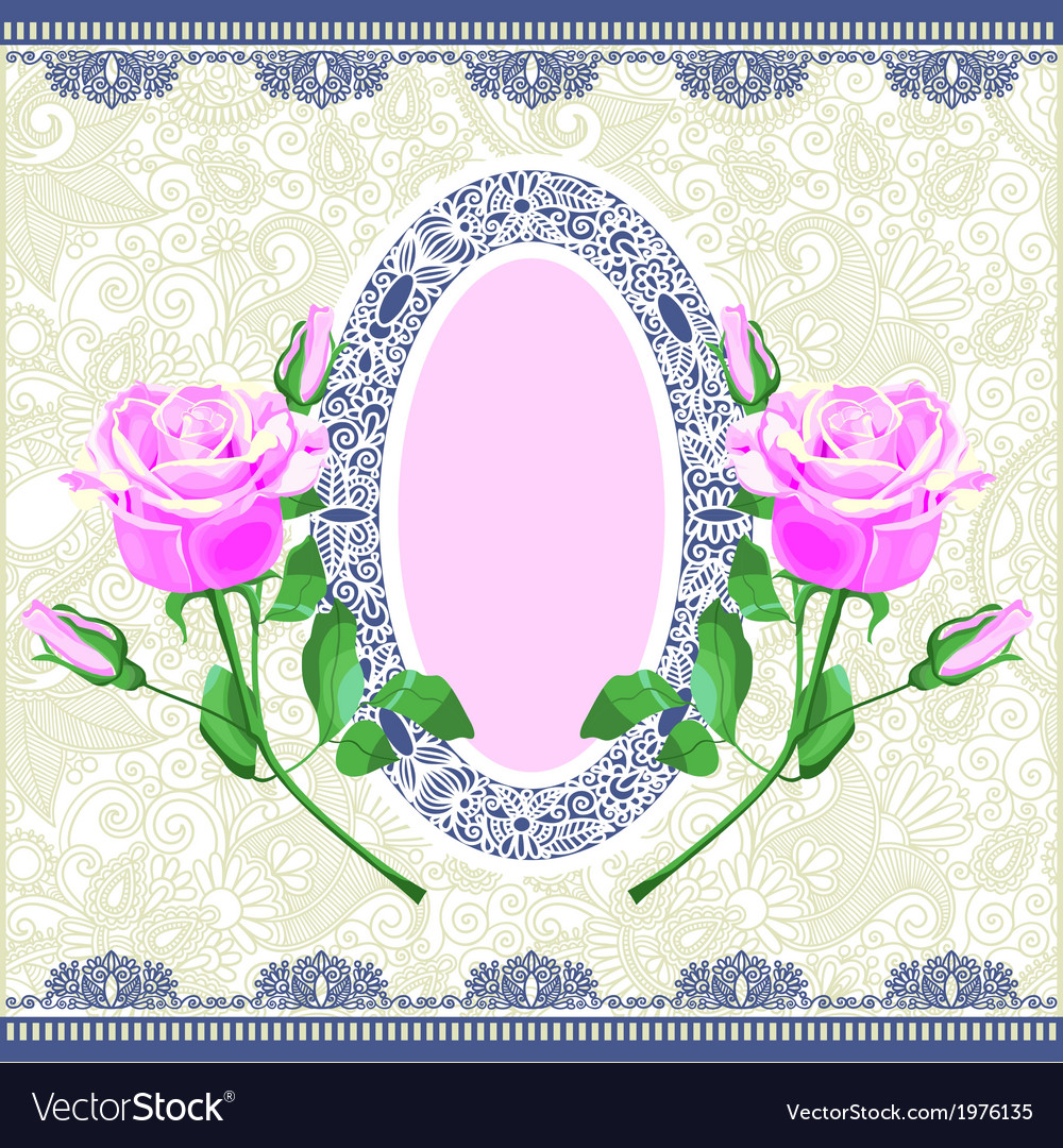 Hand draw pink rose ornamental decoration vector | Price: 1 Credit (USD $1)