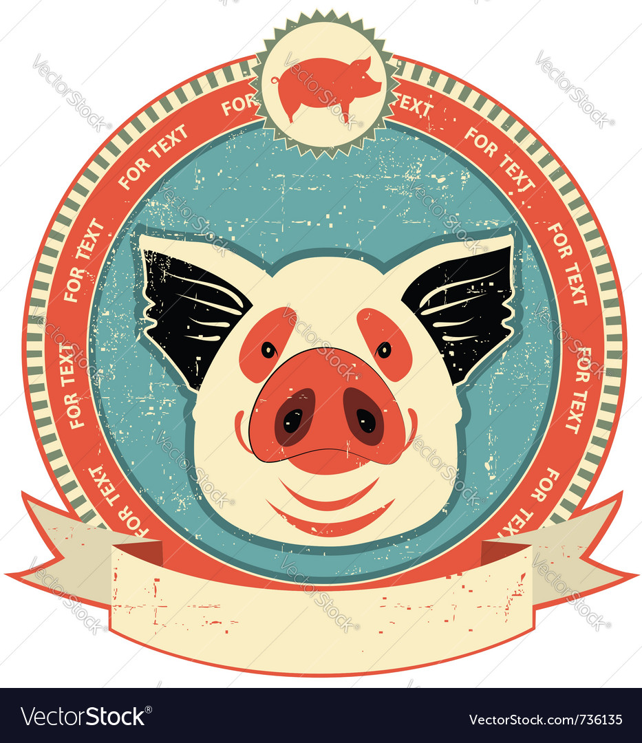 Pig head label vector | Price: 1 Credit (USD $1)