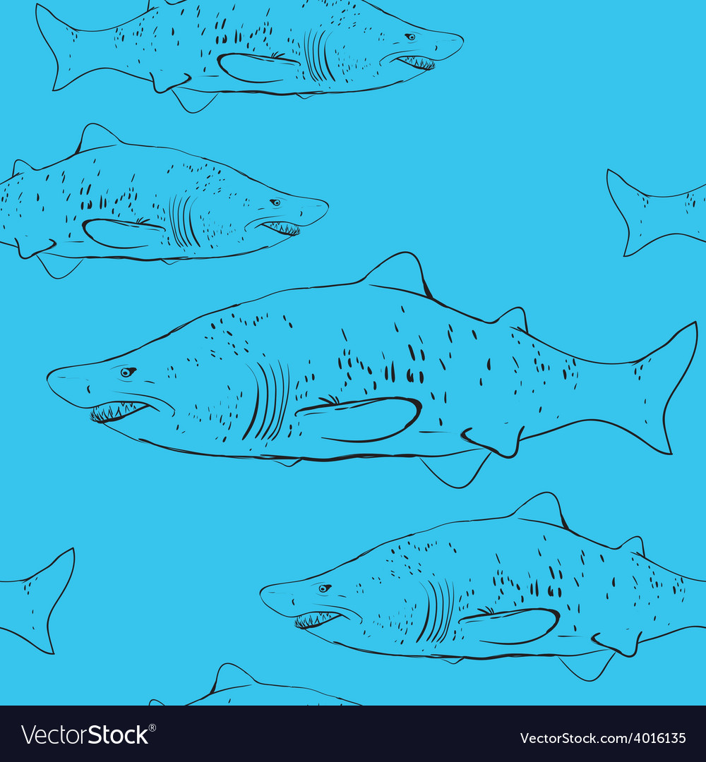 Sharks in the water black outline on the blue vector | Price: 1 Credit (USD $1)