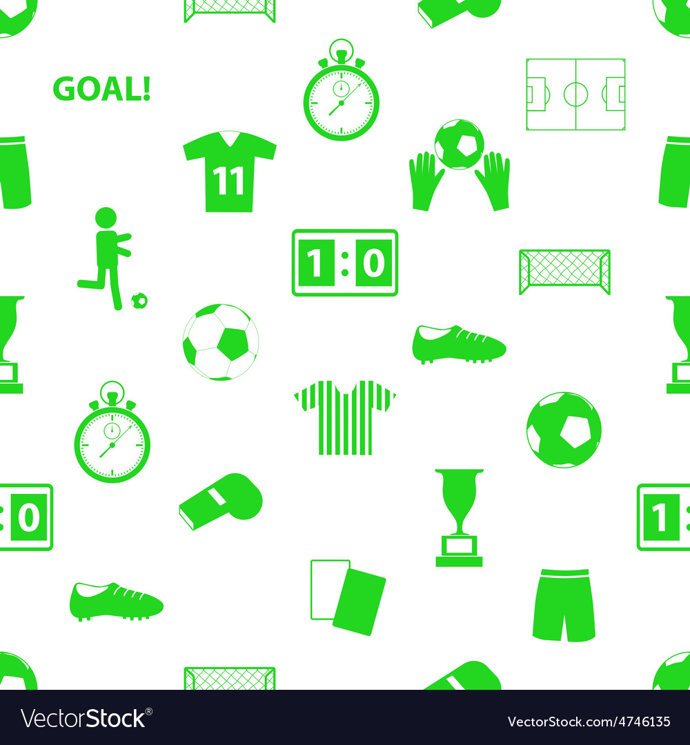 Soccer football icons seamless green icons pattern vector | Price: 1 Credit (USD $1)