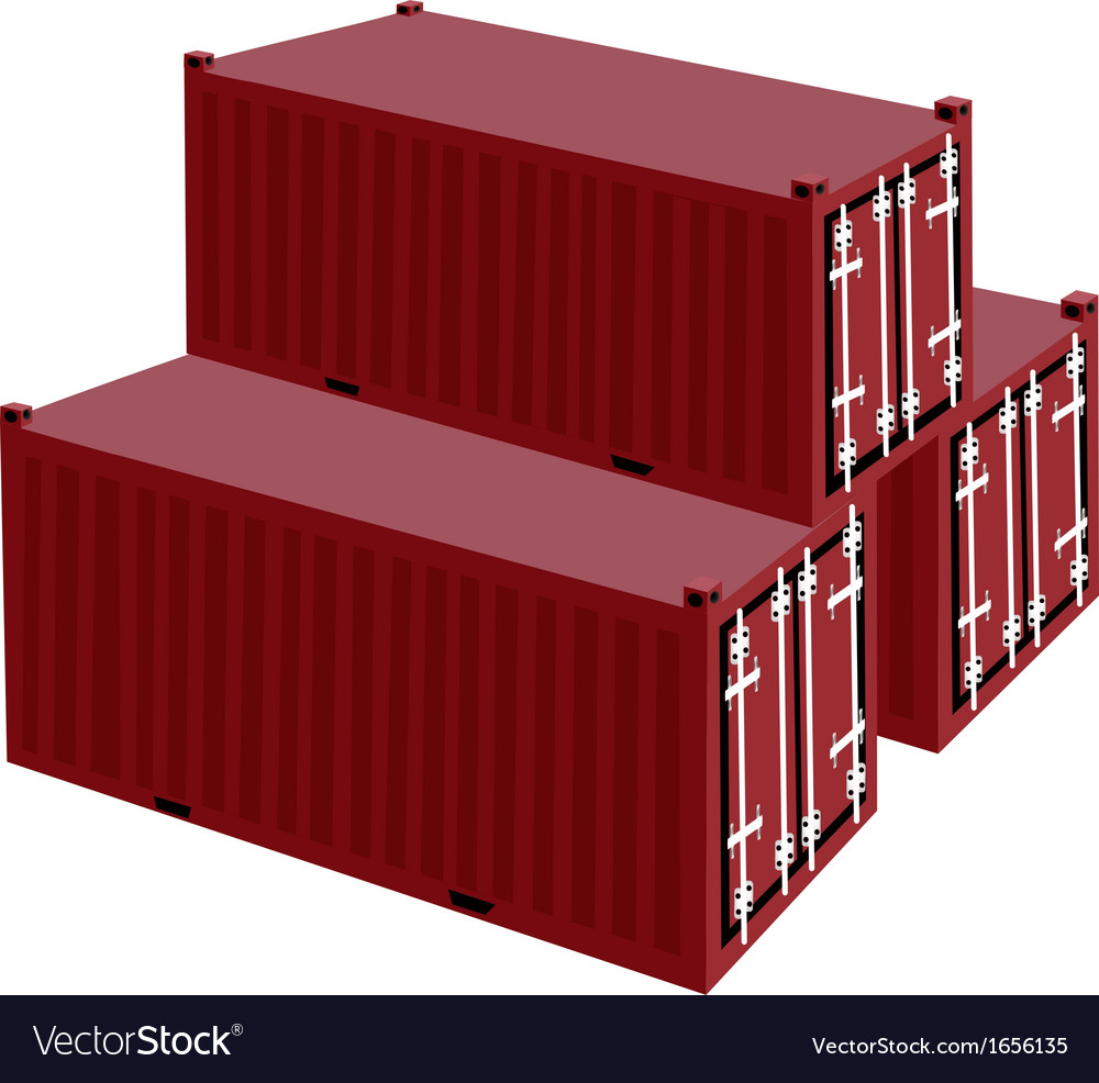 Three red cargo container on white background vector | Price: 1 Credit (USD $1)