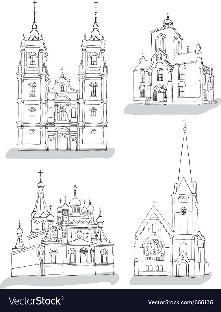 A set of sketches of churches vector | Price: 1 Credit (USD $1)