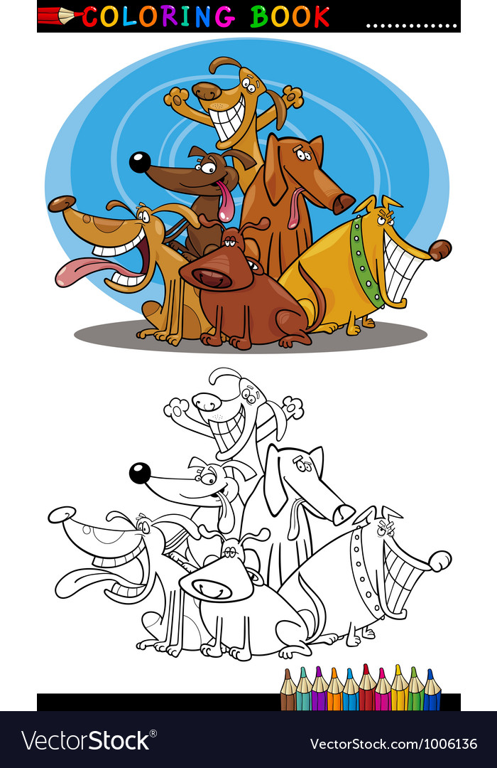 Cartoon dogs for coloring book or page vector | Price: 3 Credit (USD $3)