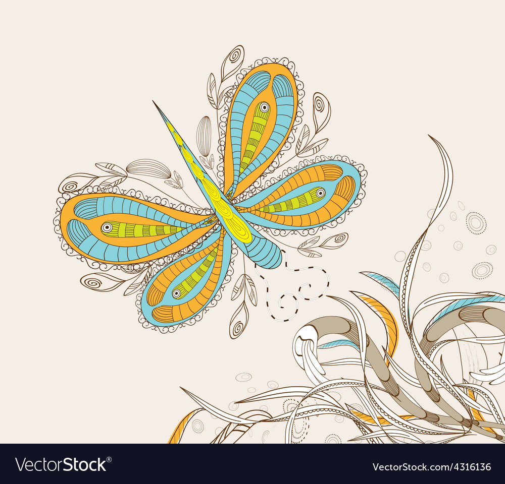 Doodle floral background hand drawn retro vector   Price: 1 Credit (USD $1)