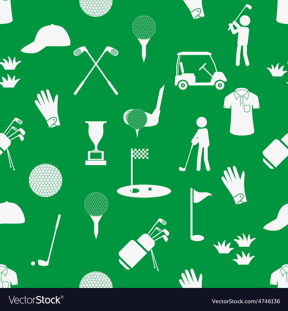 Golf sport simple white and green seamless pattern vector | Price: 1 Credit (USD $1)