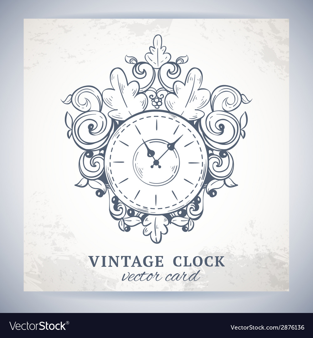 Old vintage wall clock postcard vector | Price: 1 Credit (USD $1)