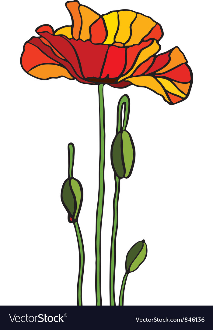 Poppy stained glass vector | Price: 1 Credit (USD $1)