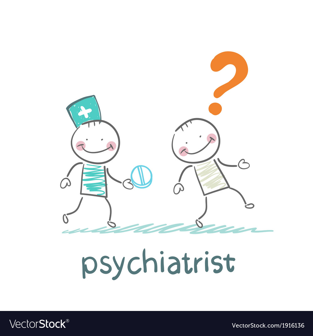 Psychiatrist gives the patient a pill crazy vector | Price: 1 Credit (USD $1)