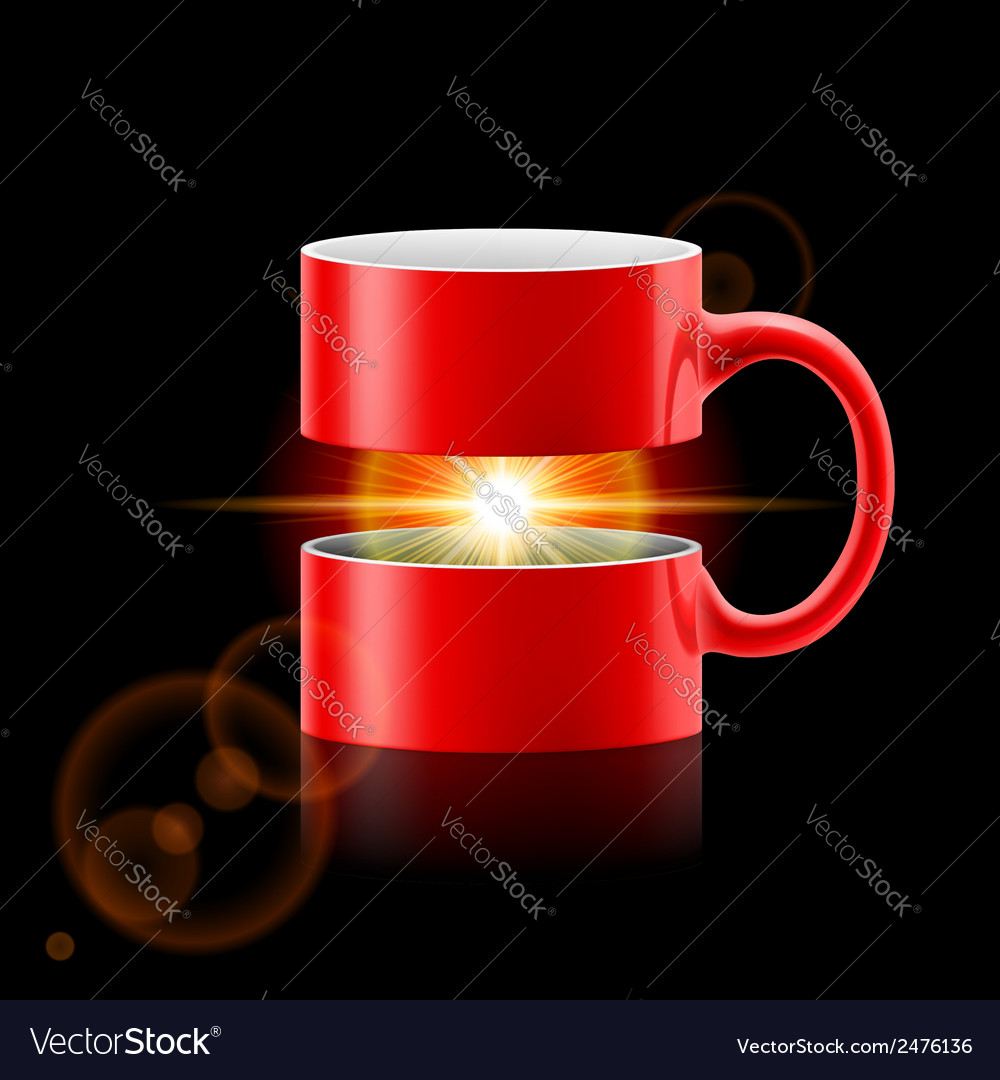 Red mug of two parts with sunshine inside vector | Price: 1 Credit (USD $1)