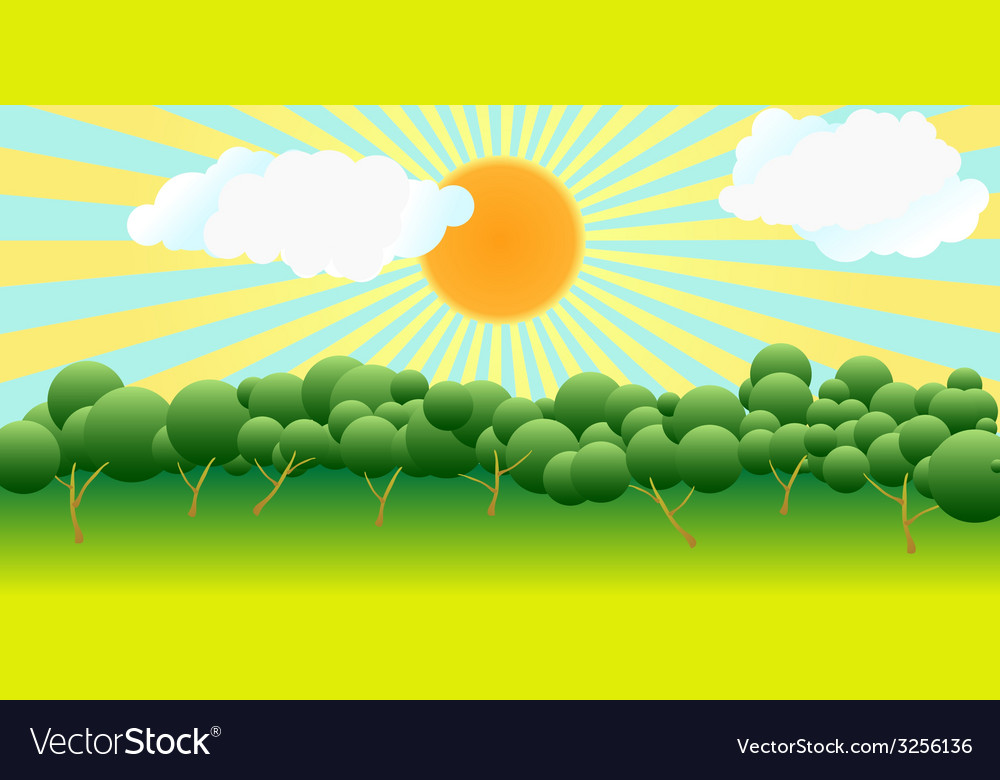The sun over trees vector | Price: 1 Credit (USD $1)