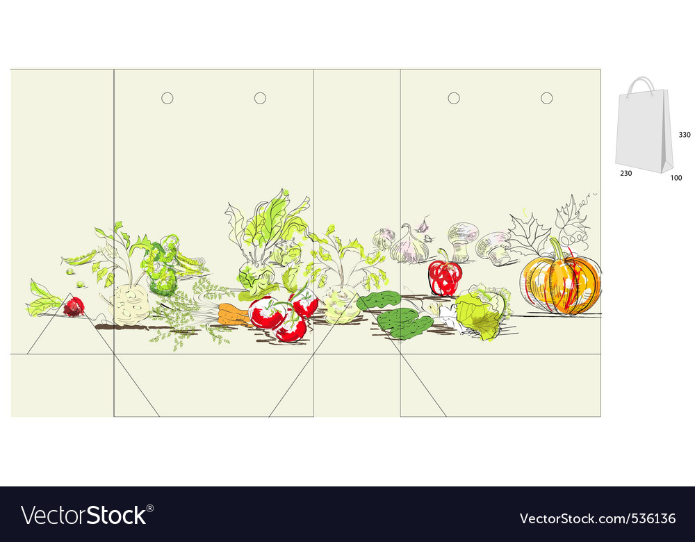 Template for bag with vegetable vector   Price: 1 Credit (USD $1)