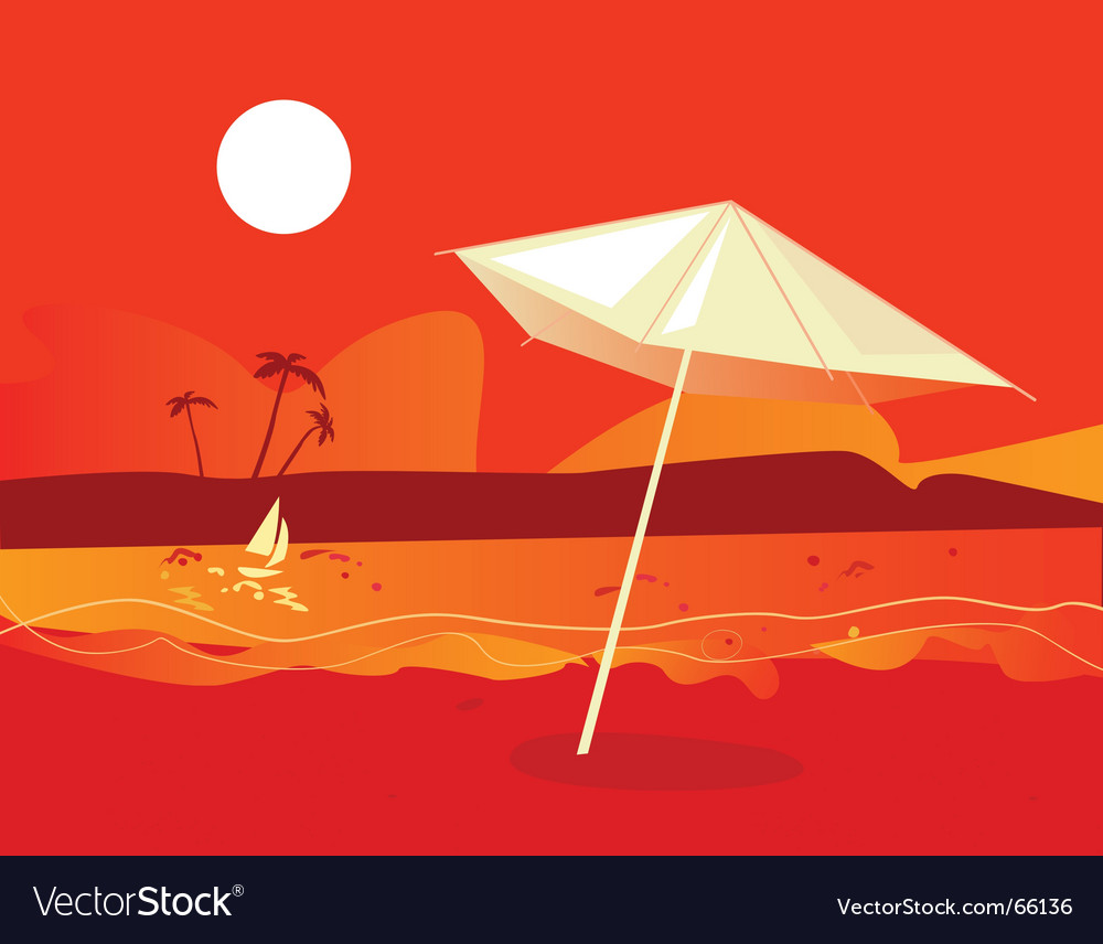 Tropical beach sunset vector | Price: 1 Credit (USD $1)